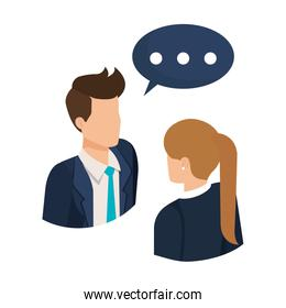 business couple talking with speech bubble