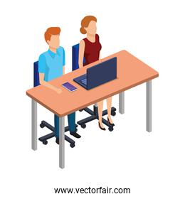 business couple in the desk with laptop