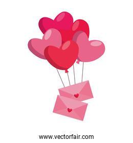 Heart shaped party balloons with envelopes