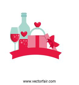 bottle with hearts and set love icons