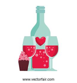 heart bottle and cups with cupcake