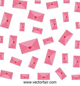 envelopes with hearts pattern