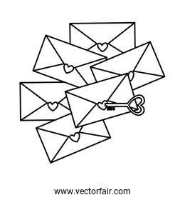 envelopes with hearts and key