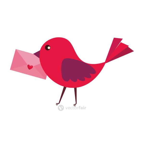 bird with envelope and heart