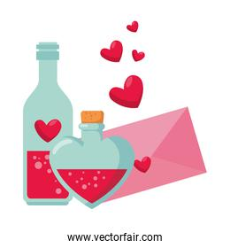 envelope with heart and bottles drink isolated icon