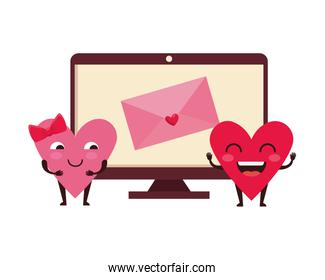 envelope in computer with hearts couple kawaii
