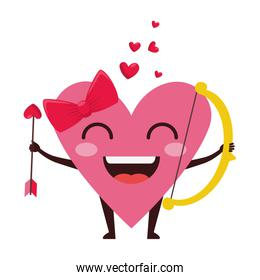 heart love female with arch and arrow kawaii character