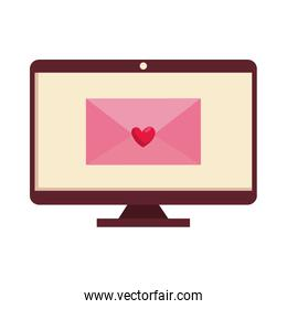 envelope with heart in computer