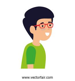 young and casual man with glasses character
