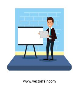businessman with paperboard training and laptop