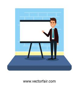businessman with paperboard training