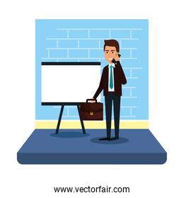 businessman with paperboard training and portfolio