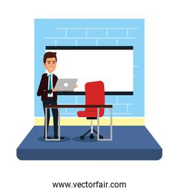 businessman with paperboard training in the office