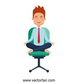 businessman with lotus pose in office chair
