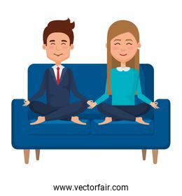 business couple with posing lotus in the sofa
