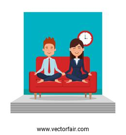 business couple with posing lotus in the livingroom