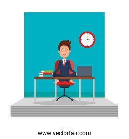businessman with lotus pose in office