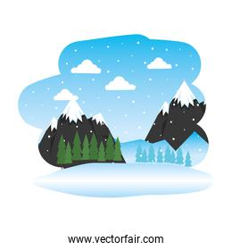 beautiful snowscape scene icon