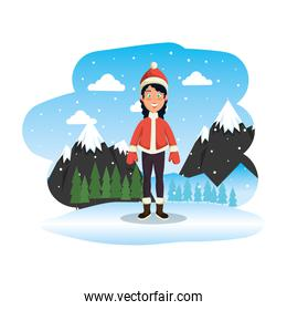 woman with christmas sweater and hat in snowscape