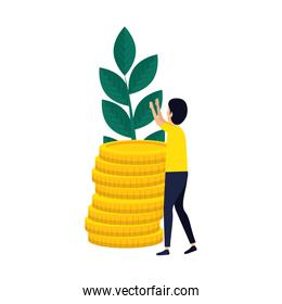 elegant businessman with coins and plant