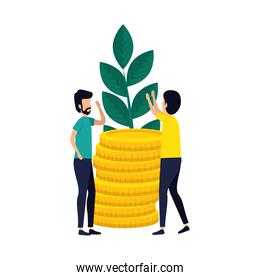 couple of men with coins and plant