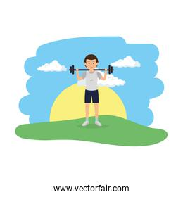 athletic man weight lifitng in the camp