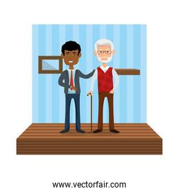 elegant businessman with old man in the home