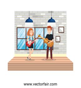 young couple playing instruments in the house