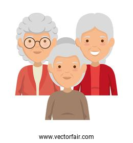 group of cute grandmothers avatars characters