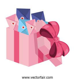envelopes with heart in giftbox