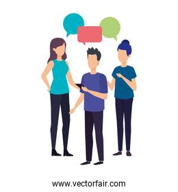 group of people with speech bubble characters