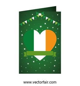 card with heart with ireland flag
