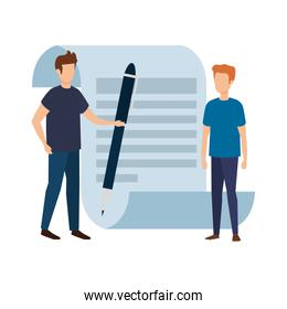 paper document with business person and pen
