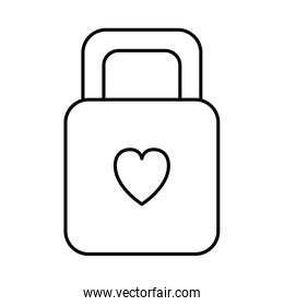 padlock with heart love icon
