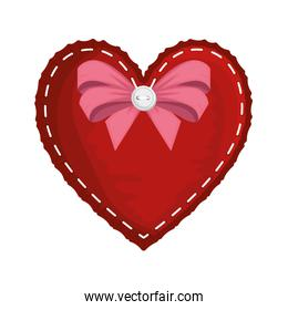 heart love with bow valentines card