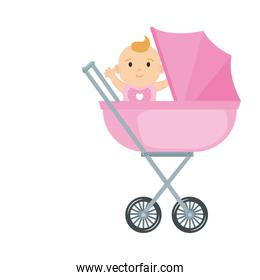 cute and little girl baby in cart