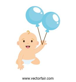 cute and little boy baby with balloons helium