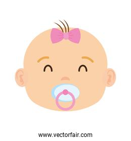 cute and little girl baby head character