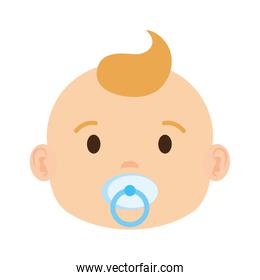 cute and little boy baby head character