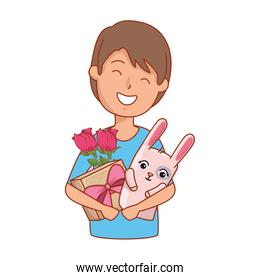 young man with roses and rabbit