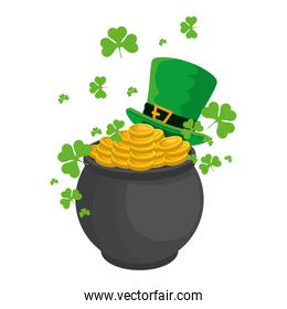 cauldron with coins and leprechaun hat st patricks day