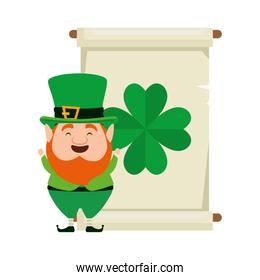 leprechaun with pachment and clover