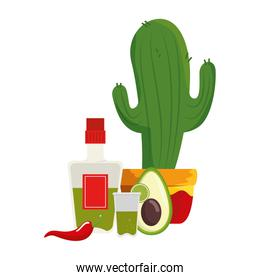 mexican cactus with tequila and vegetables