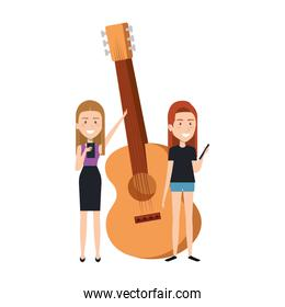 young girls with guitar instrument