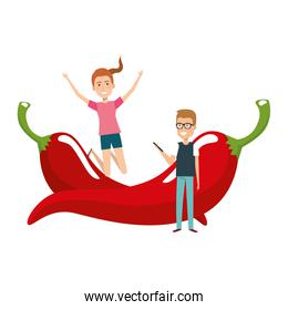 young couple with chilli pepper