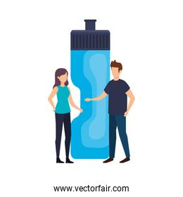 couple with bottle gym vector illustration