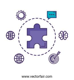 puzzle game piece with set business icons