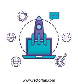 rocket launcher with laptop and business icons