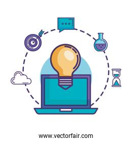 bulb light with laptop and business icons