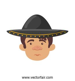 traditional mexican mariachi head character